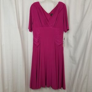 Adrianna Papell womens dress size 10 pink gathered